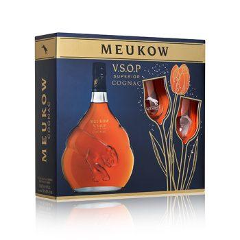 Meukow Cognac VSOP 70cl + 2 klaasi